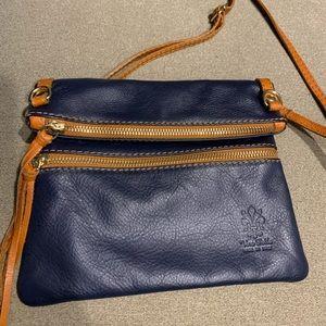 Vera Pello Italian Leather Crossbody Foldover Bag